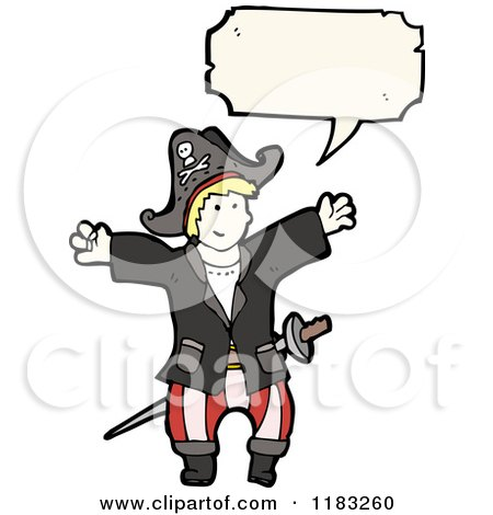 Cartoon of a Child Dressed up in a Pirate Costume with a Conversation Bubble - Royalty Free Vector Illustration by lineartestpilot