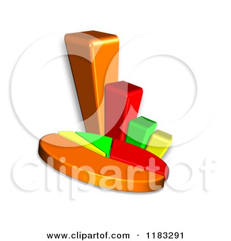 Clipart of a 3d Pie Chart and Bar Graph - Royalty Free CGI Illustration by MacX