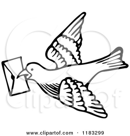 Clipart of a Black and White Messenger Dove with a Letter - Royalty Free Vector Illustration by Prawny