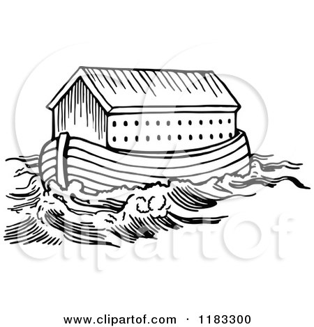 Clipart of Black and White Noahs Ark and Waters - Royalty Free Vector Illustration by Prawny