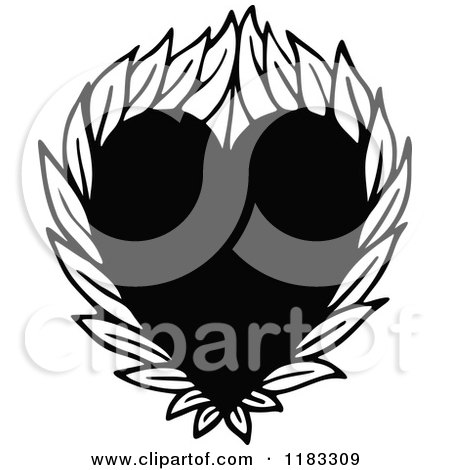 Clipart of a Black and White Heart with Leaves - Royalty Free Vector Illustration by Prawny
