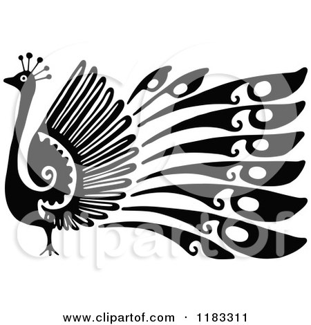 Clipart of a Black and White Peacock in Profile - Royalty Free Vector Illustration by Prawny