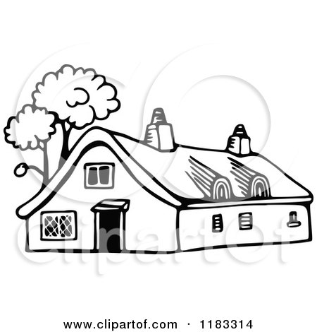 cottage clipart black and white. clipart of a black and white cottage with trees royalty free vector illustration by prawny