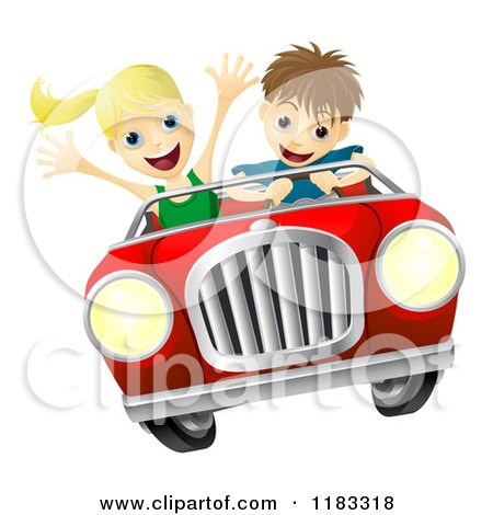 Cartoon of a Crazy Driver Teen Boy and Happy Girl Passenger - Royalty Free Vector Clipart by AtStockIllustration