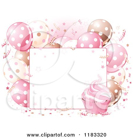 Clipart of a Sign with Pink Cream and Brown Birthday Party Balloons and Cupcakes - Royalty Free Vector Illustration by Pushkin