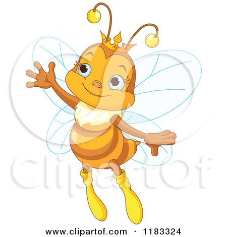 Cartoon of a Cute Princess Bee Waving - Royalty Free Vector Clipart by Pushkin