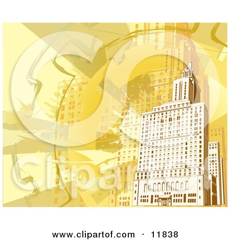 Yellow and Orange Toned Building Background Posters, Art Prints