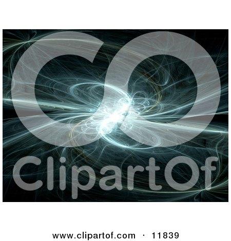 Whispy Blue and White Fractal on Black Clipart Illustration by AtStockIllustration