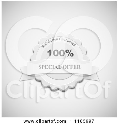 Clipart of a Grayscale Special Offer Label with a Banner on Shading - Royalty Free Vector Illustration by vectorace