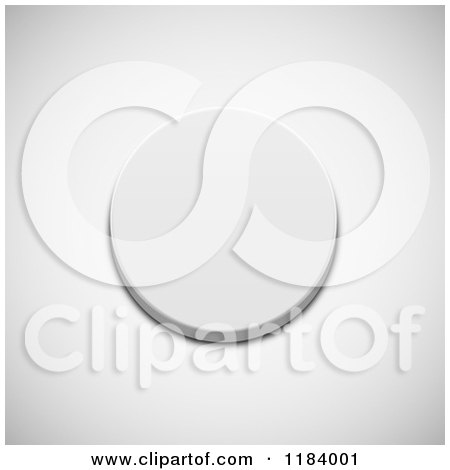 Clipart of a 3d White Push Button on Shading - Royalty Free Vector Illustration by vectorace