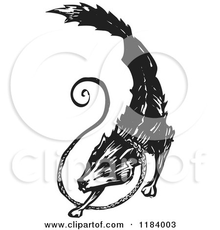 Clipart of a Fenrir or Fenris Wolf Black and White Woodcut 2 - Royalty Free Vector Illustration by xunantunich