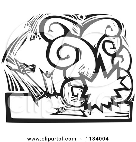 Clipart of Victims in a Terrorst Bombing Explosion Black and White Woodcut - Royalty Free Vector Illustration by xunantunich
