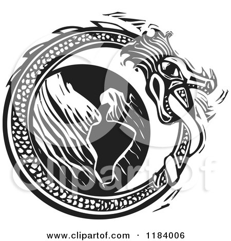 Clipart of a Midgard Serpent Around the World Black and White Woodcut - Royalty Free Vector Illustration by xunantunich