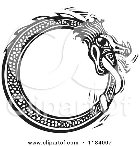 Clipart of a Midgard Serpent Biting His Tail Black and White Woodcut - Royalty Free Vector Illustration by xunantunich