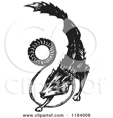 Clipart of a Fenrir or Fenris Wolf Black and White Woodcut - Royalty Free Vector Illustration by xunantunich