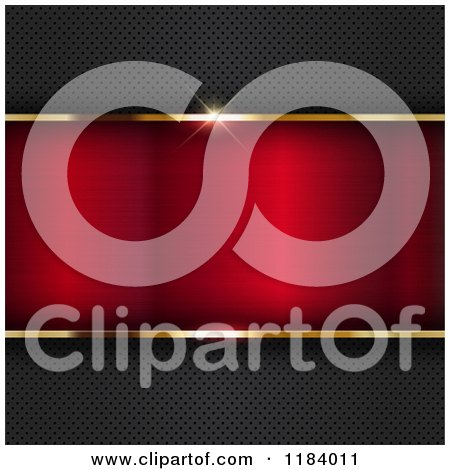 Clipart of a 3d Gold Border Framing Red Metal on a Perforated Texture - Royalty Free Vector Illustration by KJ Pargeter