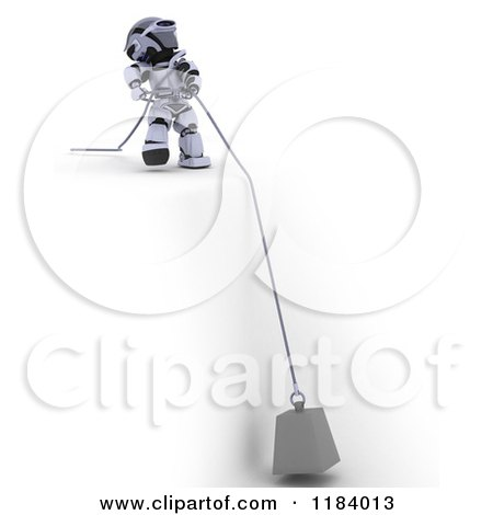 Clipart of a 3d Robot Pulling a Heavy Weight on a Cable over a Cliff - Royalty Free CGI Illustration by KJ Pargeter