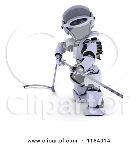 Clipart of a 3d Robot Pulling on a Metal Cable - Royalty Free CGI Illustration by KJ Pargeter