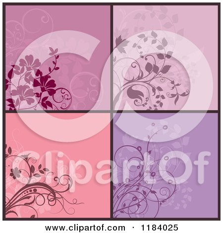 Clipart of Purple and Pink Floral Designs - Royalty Free Vector Illustration by KJ Pargeter