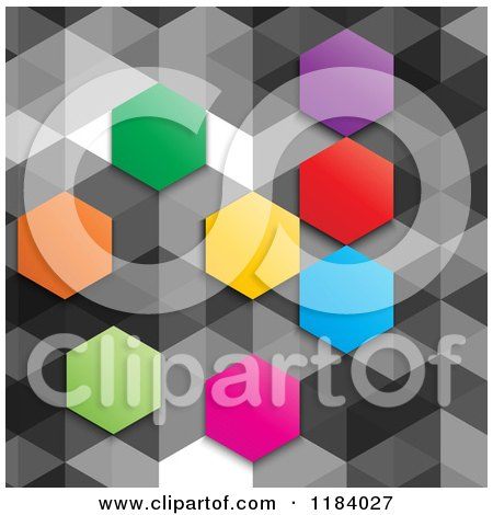 Clipart of a Background of Colorful Hexagons on Gray - Royalty Free Vector Illustration by KJ Pargeter