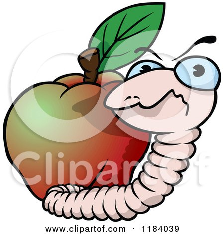 Cartoon of a Mad Earth Worm and Apple - Royalty Free Vector Clipart by dero