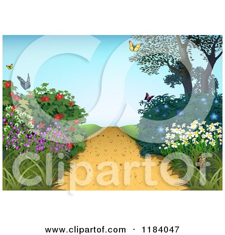 Clipart of a Hilly Path and Flowering Plants with Butterflies - Royalty Free Vector Illustration by dero