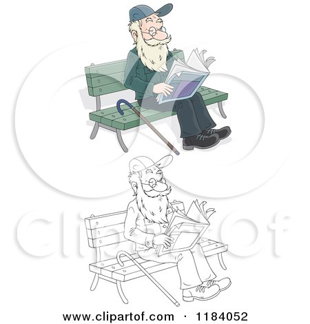 Cartoon of a Colored and Outlined Happy Senior Man Reading the Newspaper on a Park Bench - Royalty Free Vector Clipart by Alex Bannykh