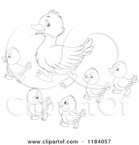 Cartoon of an Outlined Mother Duck and Baby Ducklings - Royalty ...