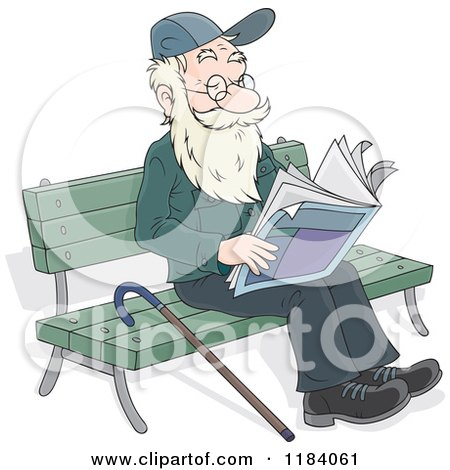 Happy Senior Man Reading the Newspaper on a Park Bench Posters, Art Prints