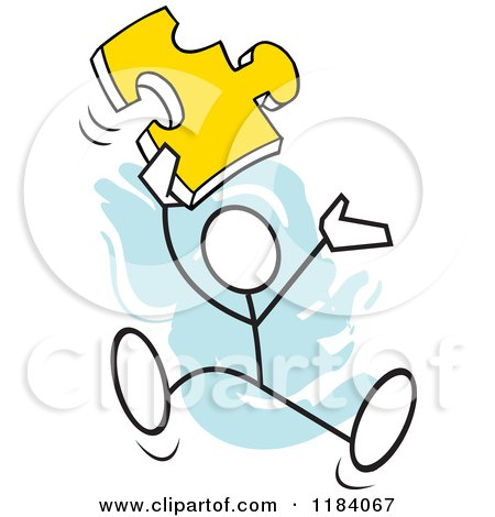 Cartoon of a Stickler Man Jumping with a Puzzle Piece over Blue - Royalty Free Vector Clipart by Johnny Sajem