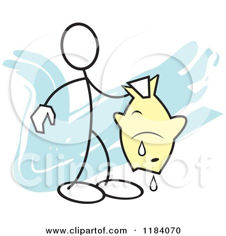 Cartoon of a Stickler Man Holding a Fish over Blue - Royalty Free Vector Clipart by Johnny Sajem