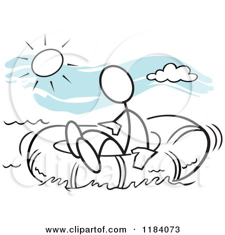 Cartoon of a Stickler Man Adrift in a Survival Raft over Blue - Royalty Free Vector Clipart by Johnny Sajem