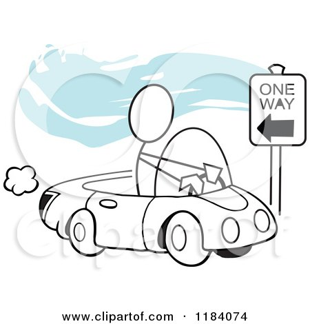 Cartoon of a Stickler Man Driving Incorrectly on a One Way Street over Blue - Royalty Free Vector Clipart by Johnny Sajem
