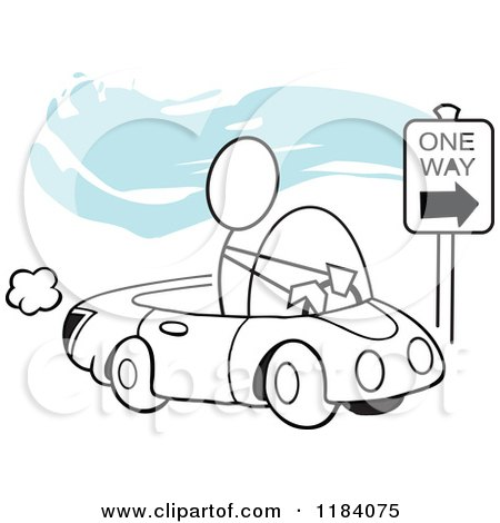 Cartoon of a Stickler Man Driving Correctly on a One Way Street over Blue - Royalty Free Vector Clipart by Johnny Sajem