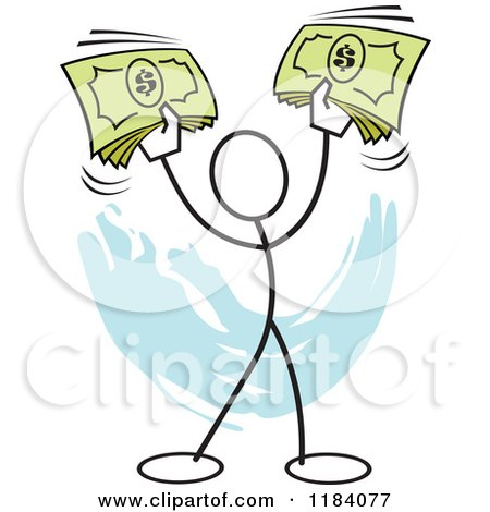 Cartoon of a Stickler Man Holding up Cash Money over Blue - Royalty Free Vector Clipart by Johnny Sajem