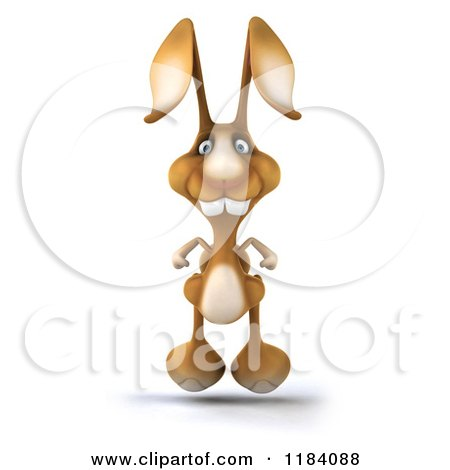 Clipart of a 3d Brown Bunny Hopping Forward - Royalty Free CGI Illustration by Julos