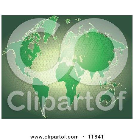 Green Map of the World With a Honeycomb Pattern Posters, Art Prints