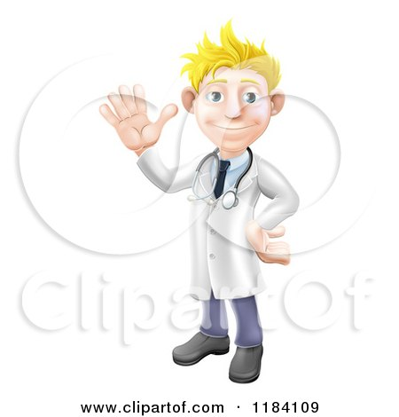 Cartoon of a Friendly Blond Male Doctor Waving - Royalty Free Vector Clipart by AtStockIllustration