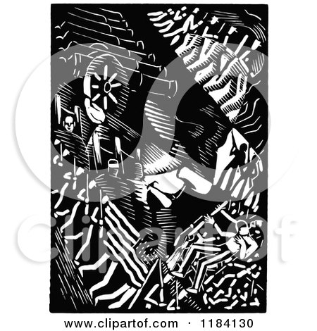 Clipart Of Retro Vintage Black And White Abraham Lincoln