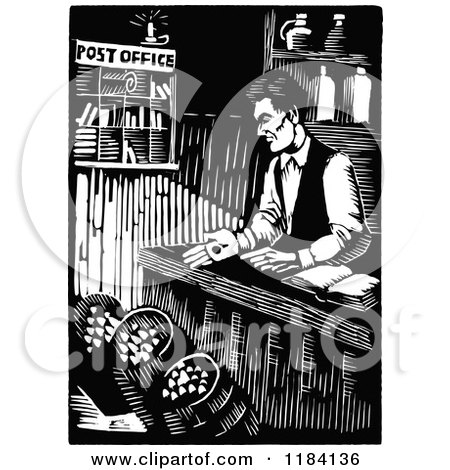Clipart of Retro Vintage Black and White Abraham Lincoln Working at His General Store - Royalty Free Vector Illustration by Prawny Vintage