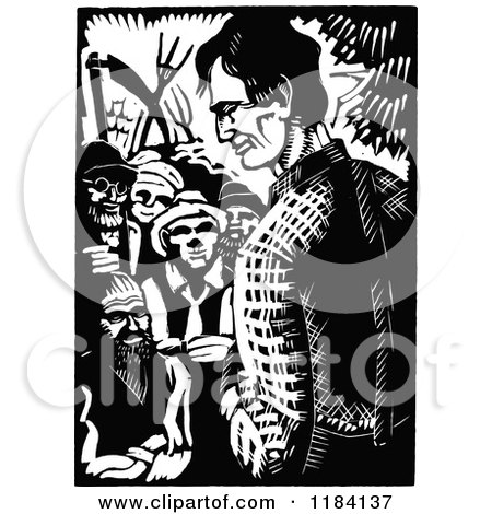 Clipart of Retro Vintage Black and White Abraham Lincoln Campaigning 2 - Royalty Free Vector Illustration by Prawny Vintage