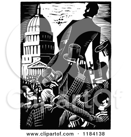 Clipart of Retro Vintage Black and White Abraham Lincoln Campaigning - Royalty Free Vector Illustration by Prawny Vintage