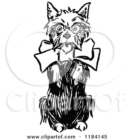 Clipart of a Black and White Terrier Dog Begging - Royalty Free Vector Illustration by Prawny Vintage