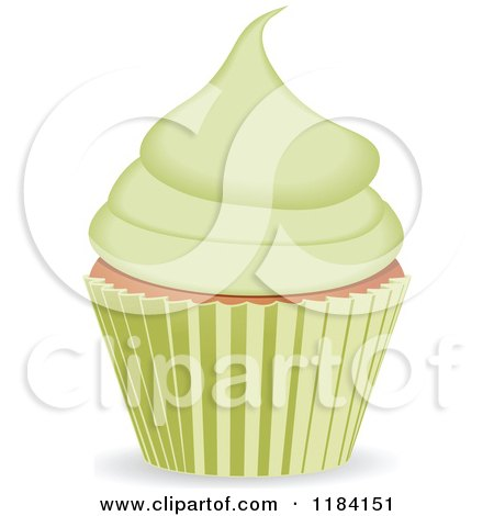 Clipart of a Cupcake with Green Frosting - Royalty Free Vector Illustration by elaineitalia