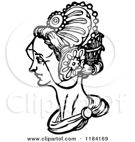 Clipart of a Retro Vintage Black and White Medieval Woman and Headdress 3 - Royalty Free Vector Illustration by Prawny Vintage
