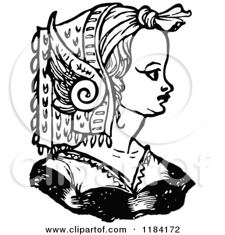 Clipart of a Retro Vintage Black and White Medieval Woman and Headdress 6 - Royalty Free Vector Illustration by Prawny Vintage