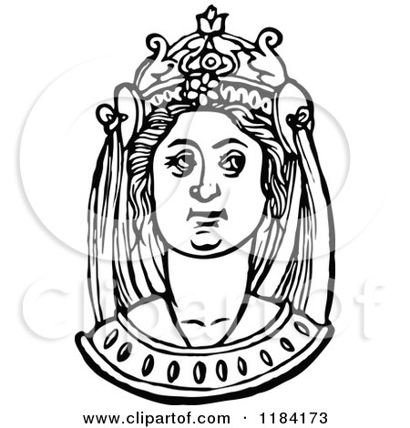 Clipart of a Retro Vintage Black and White Medieval Woman and Headdress 7 - Royalty Free Vector Illustration by Prawny Vintage