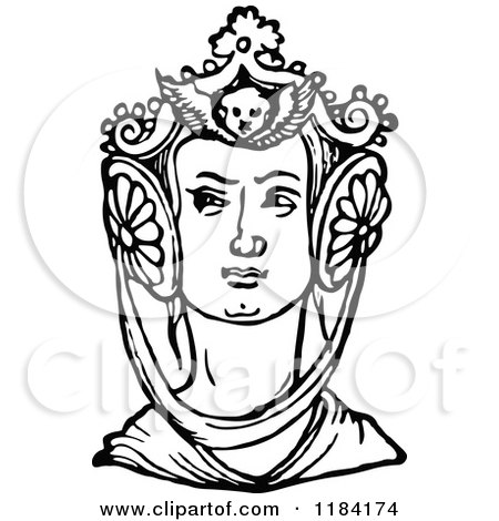 Clipart of a Retro Vintage Black and White Medieval Woman and Headdress 2 - Royalty Free Vector Illustration by Prawny Vintage