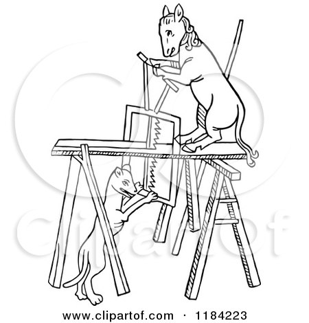 Clipart of Black and White Carpenter Animals - Royalty ...  Clipart of Blac...