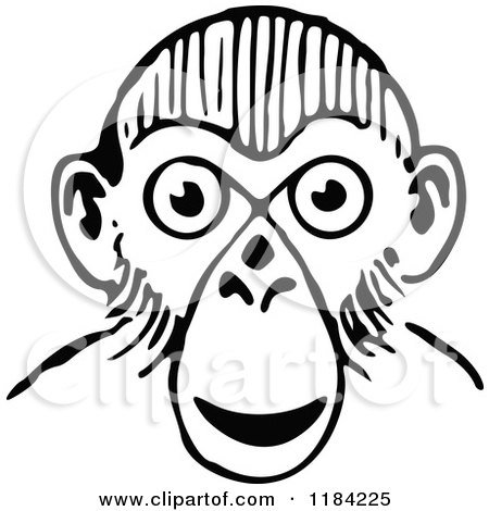 Clipart of a Black and White Monkey Face - Royalty Free Vector Illustration by Prawny Vintage